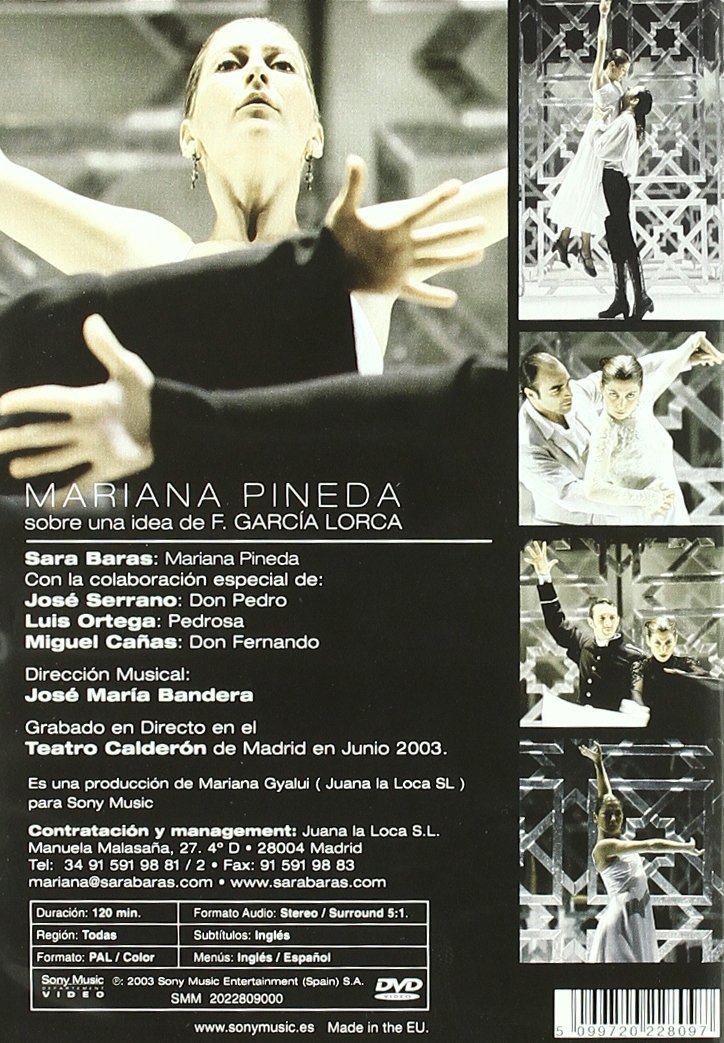 Mariana Pineda: Amazon.es: Sara Baras, José Serrano, Luis Ortega, Miguel Cañas, José María Bandera, Mariana Gyalui: Cine y Series TV