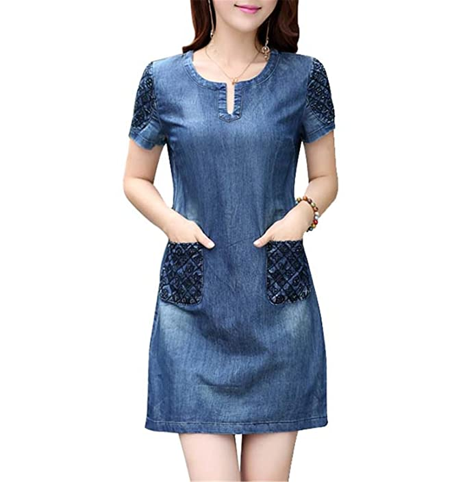 Summer Dress Women Loose Fashion Casual Mini Jeans Dresses For Women Plus Size at Amazon Womens Clothing store: