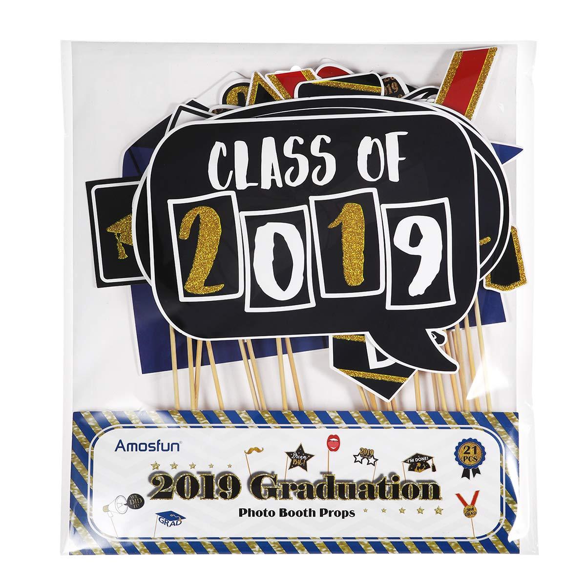 Juego de Accesorios para Fiestas de graduaci/ón Amosfun 2019 Graduation Photo Booth Props 21 Piezas