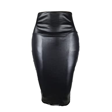 Womens Ladies Office Pencil Bodycon High Waist Faux Wet Look Leather Midi Skirt
