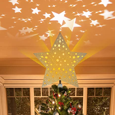 Golden Christmas Tree Topper Star 8in Hollow-Out Glitter Tree Top Star 3D Hollow Star Tree Topper for Christmas Tree Decorations