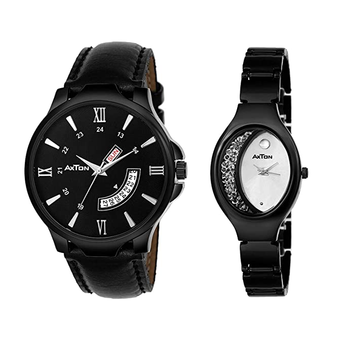 Black Strap Designer/Partywear Analog Watches for Couple