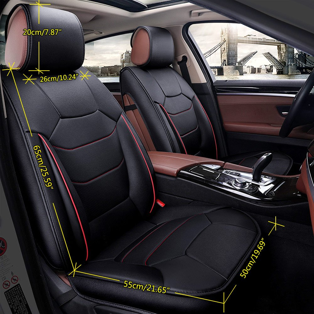 Super PDR 13pcs PU Leather car seat Cover,Airbag Compatible,Seat Cushion, Armrest pad Neck Suitable for Most 5-seat Cars Black, M