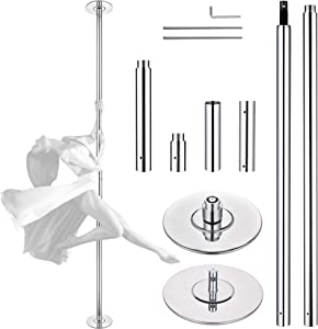 AW 9 FT 45MM Spinning Static Dancing Pole Kit for Club Party Fitness Exercise
