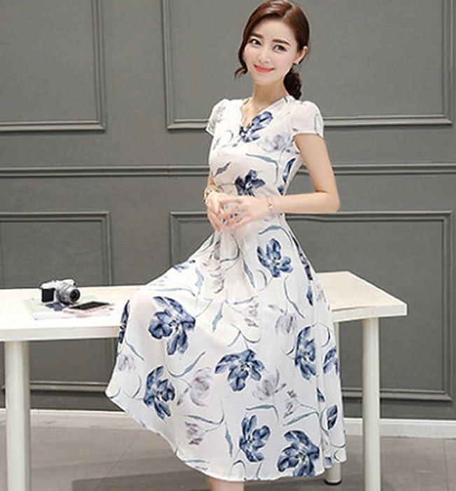 edbc38c662ade  セオヴェル THEOVEL レディース 大きいサイズも ドレス ワンピース エレガント 白 青 カラー 柄 綺麗 ひざ丈