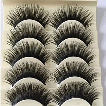 8e2ca24e637 Amazon.com : 5 Pairs Fashion Natural Make up Long Cross Fake Eye Lashes  Handmade Thick Black False Eyelashes Extension Beauty Makeup Tool by  RubyShop : ...