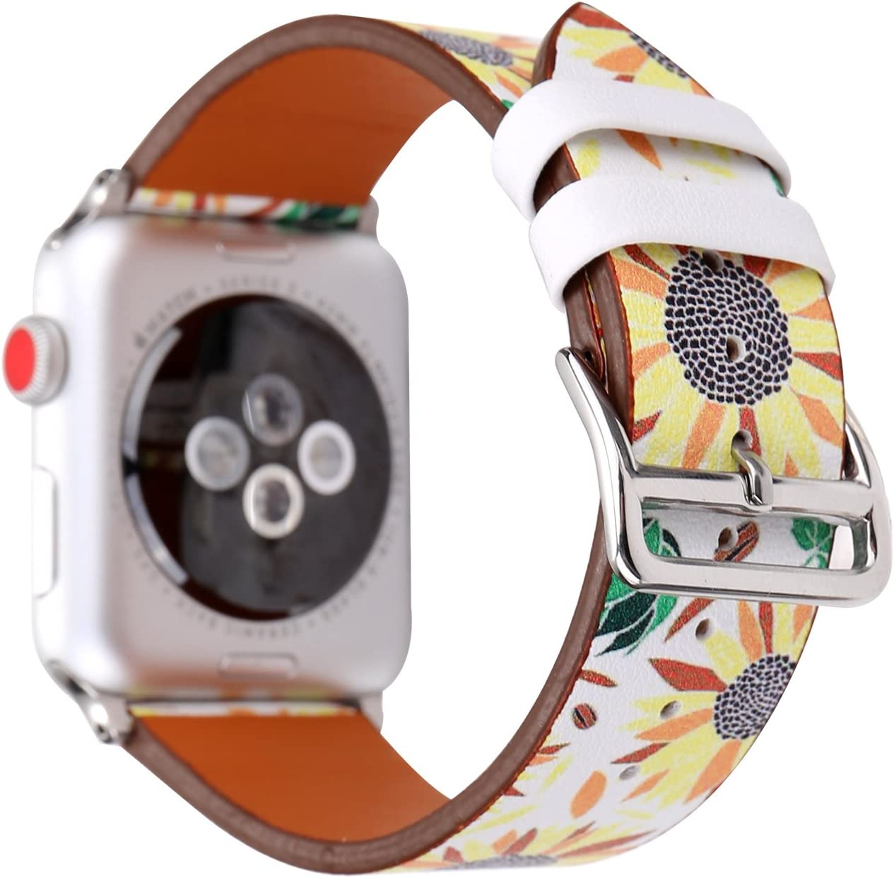 Wonmille Bands For Apple Watch 38mm Sequins Floral Printed Leather Replacement Strap Wrist Watch Band For Apple Watch Iwatch Series 1 Series 2 Series 3 Sunflower 38mm Amazon Com