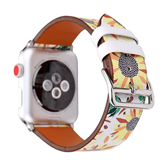 55d4bfd5bcb33 WONMILLE Bands for Apple Watch 42mm, Sunflowers Printed Leather Replacement  Strap Wrist Watch Band for Apple Watch iwatch Series 1 Series 2 Series 3 ...