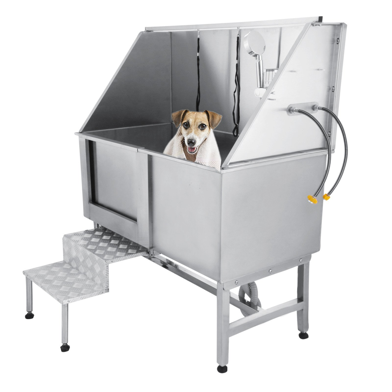BestEquip 50 Inch Professional Dog Grooming Tub Stainless Steel Pet Tub with Walk-in Ramp Dog Bath Tub for Pet Dogs (50'')