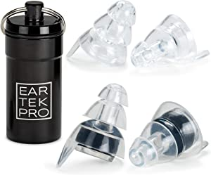 High-Fidelity Concert Earplugs by EarTekPro - Reusable Noise-Reduction Ear Plugs Set with Two Sizes Included - for Rave, Live Music, Festivals, Marching Bands, Loud Events, Fitness Classes