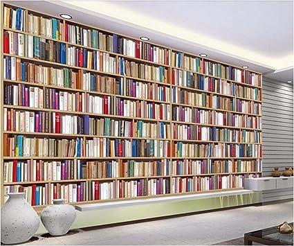 Bzdhwwh Custom Mural 3d Photo Wallpaper Bookshelf Living Room Tv