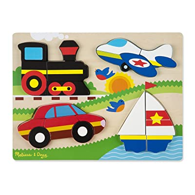 Melissa & Doug Vehicles Wooden Chunky Jigsaw Puzzle (20 pcs): Game: Toys & Games