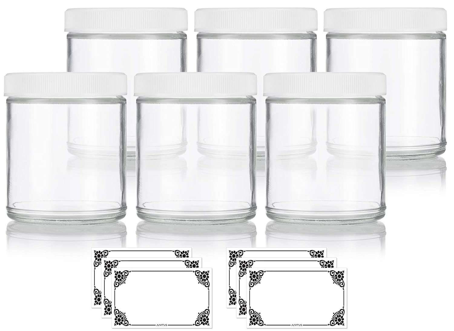 Clear Thick Plated Glass Straight Sided Jar – 6 oz 180 ml 6 Pack Labels