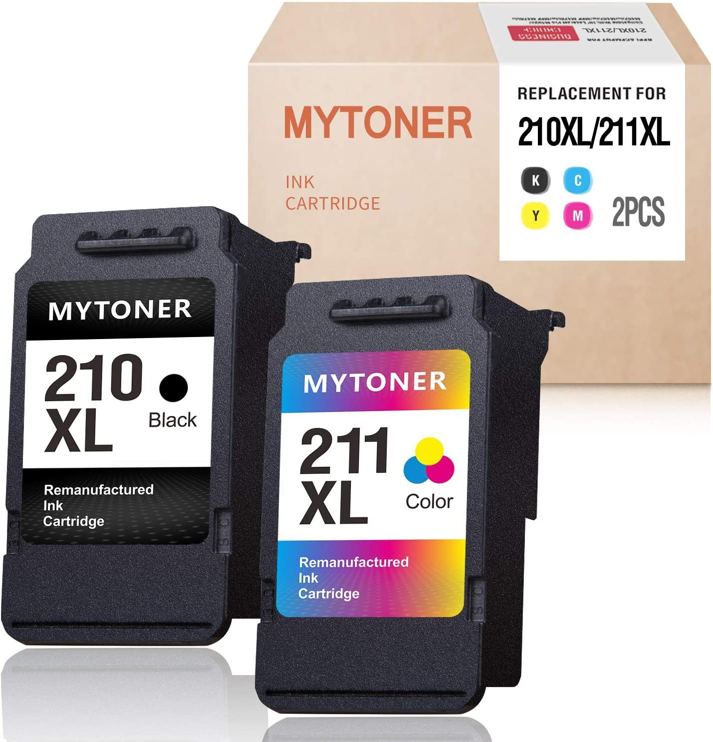 MYTONER Remanufactured Ink Cartridge Replacement for Canon 210XL 211XL Ink for PIXMA MX350 MP250 MX340 MP280 MP459 MX410 IP2702 MP240 MX360 MP490 MP270 MP230 Printer (Black,Tri-Color)
