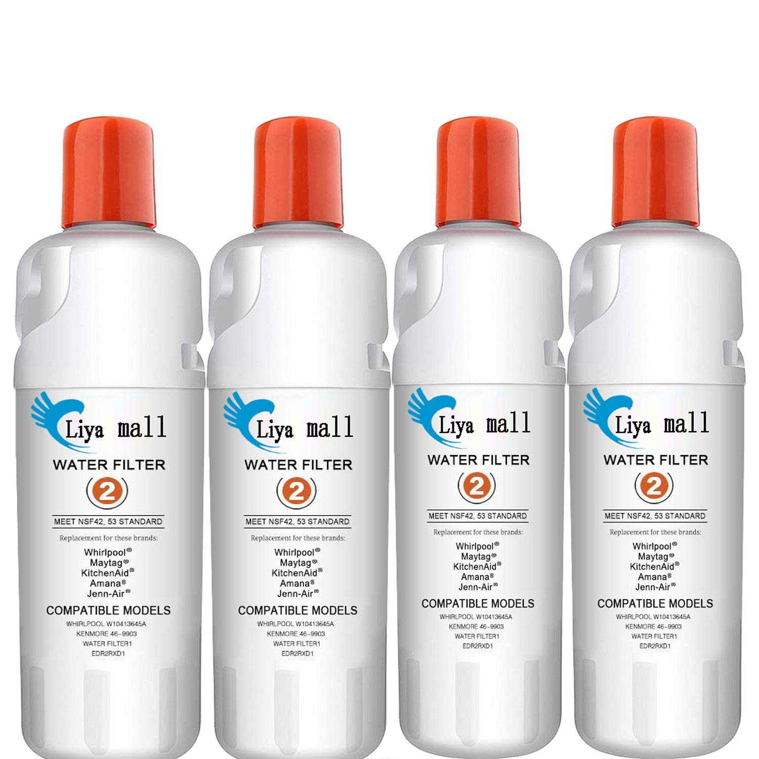 Liya Mall W-10413645-A ED-R2RXD1Replacement Ken-More 46-9082,Refrigerator Water Filtration Pack of 4