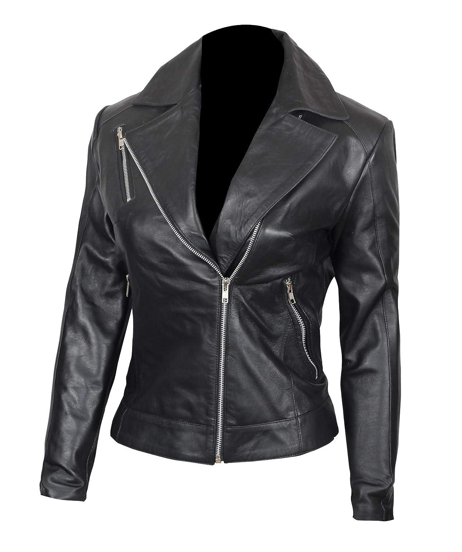 Amazon.com: Chaqueta de cuero negro para mujer – Chaqueta de ...