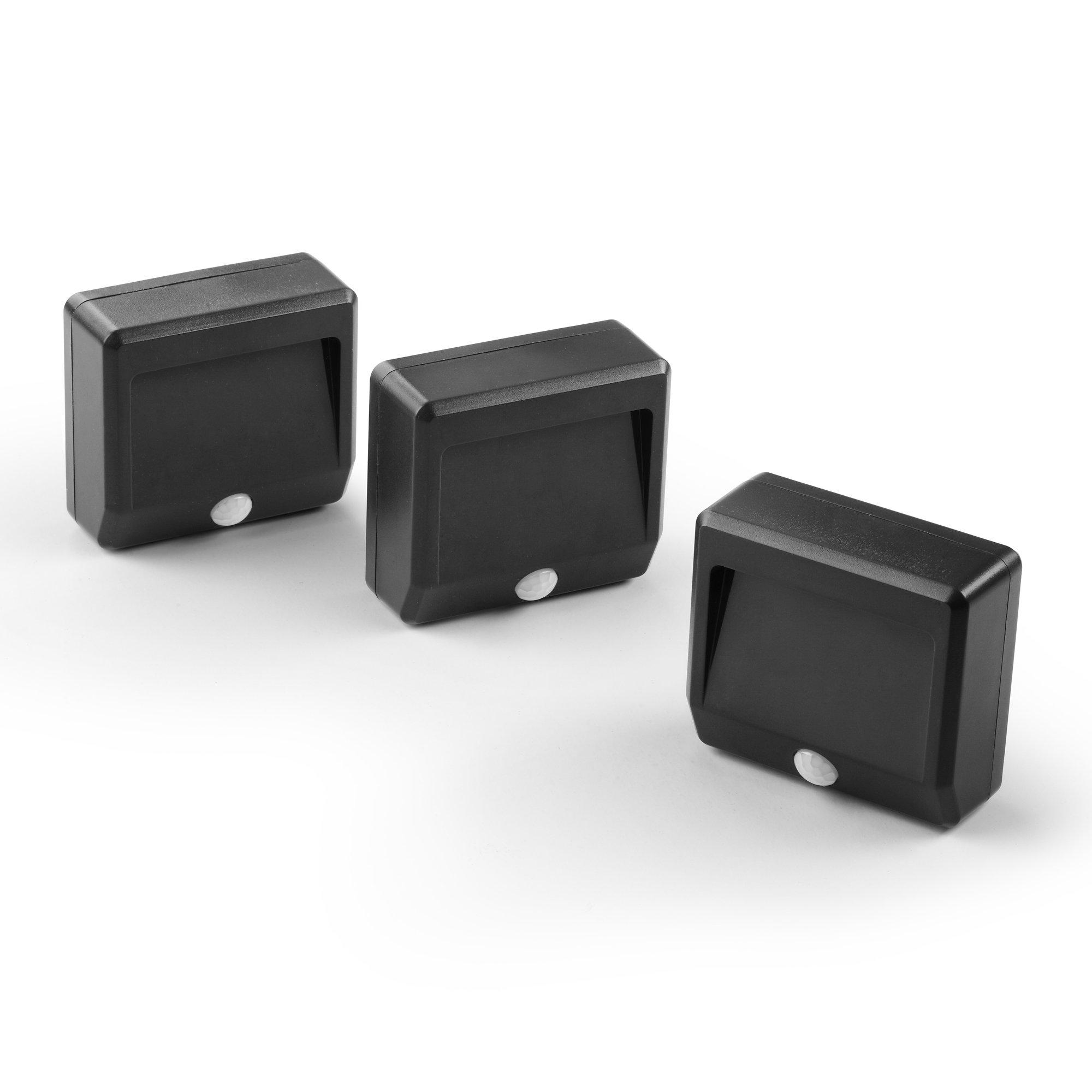 Link2Home EM-2003B Motion Sensing Indoor/Outdoor Battery Powered LED Nightlights (3 Pack), Black