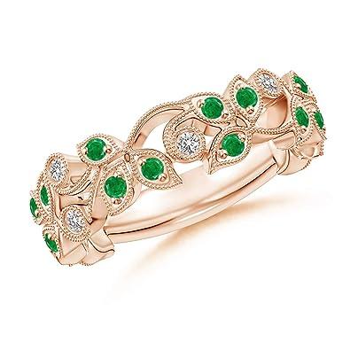Amazon.com: Correa de esmeralda redonda y diamante de Vine ...