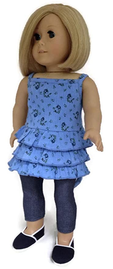Fits like American Girl Doll Clothes Ruffled Aqua Top and Denim Jeggings