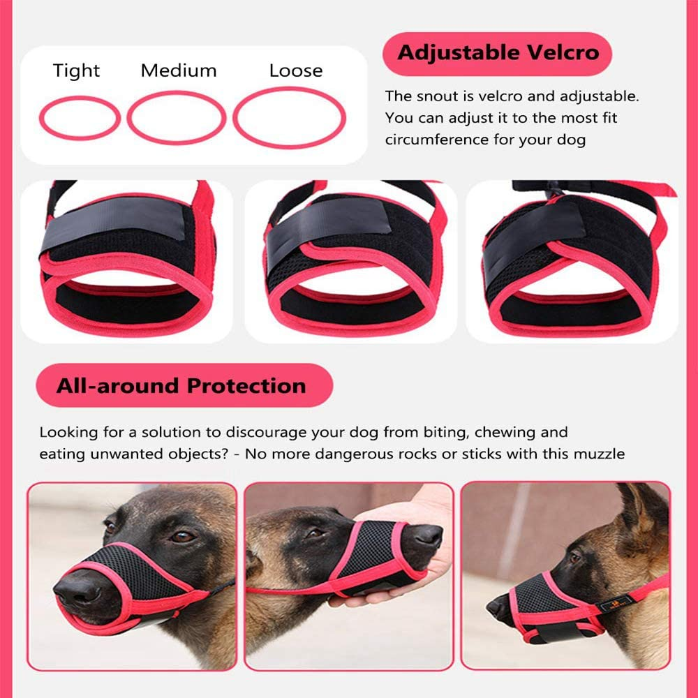 Mesh Breathable Dog Mouth Cover for Small Medium Large Dogs PETEMOO Dog Muzzle Anti-Biting Barking Secure Fit Dog Muzzle