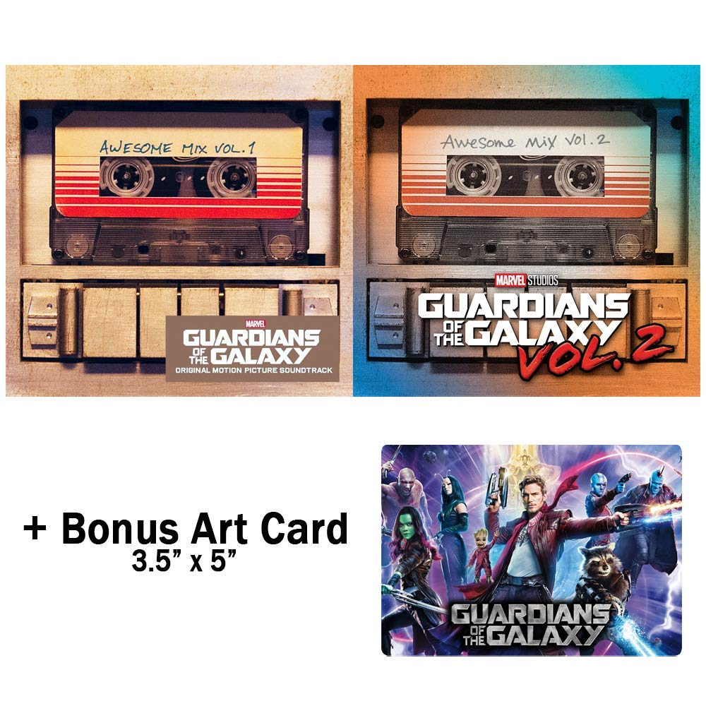 Guardians of the Galaxy Awesome Mix Vol. 1-2 - Complete Movies Soundtrack Audio CDs with Bonus Art Card