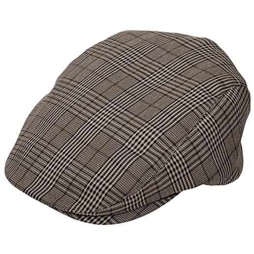 b64046764bb4 BROWN Plaid Ivy Newsboy Cabbie Cap at Amazon Men's Clothing store: