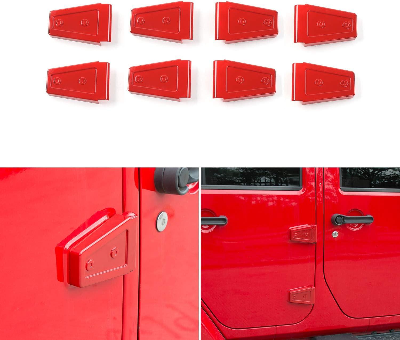 Chrome JeCar Car Exterior Door Hinge Covers Trim Sticker for 2007-2018 Jeep Wrangler JK JKU 4 Door
