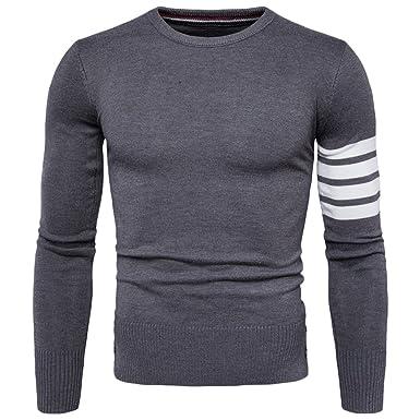 11e02aebcdf7 Quge Pullover Herren Strickpullover Retro Sweater Langarm Rundhal Bluse  Tops Dunkelgrau S