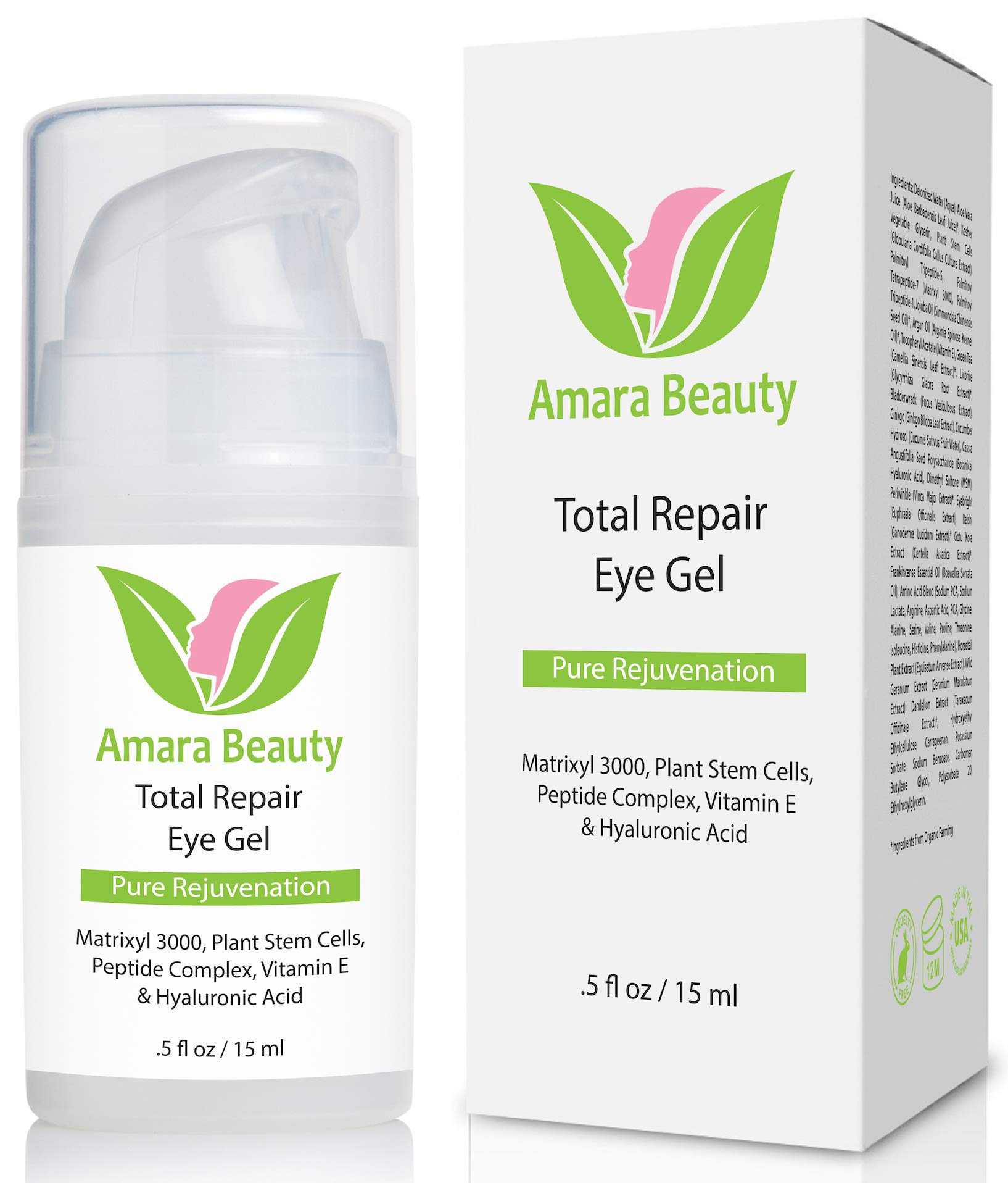 Eye Cream Gel for Dark Circles and Puffiness with Peptides & Hyaluronic Acid.5 fl. oz. by Amara Beauty