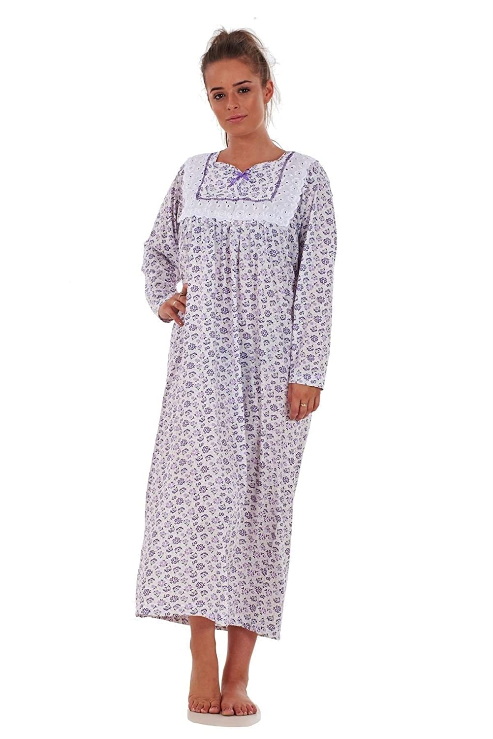 Bay eCom UK Women Nightwear Floral Print 100% Cotton Long Sleeve Long Nightdress M to XXXL Does not Apply