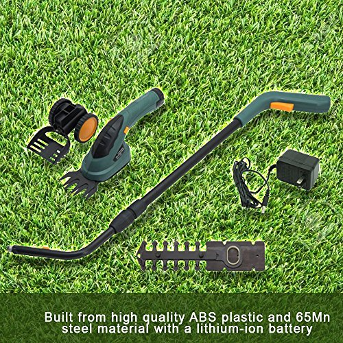 Small Lawn Mower Cordless Garden Backyard Electric 2 in 1 Landscape Grass Shear Hedge Edger Trees Plants Trencher With 1300mAh Lithium Ion Battery Double Safety Switch Non Slip Adjustable Swivel Hand