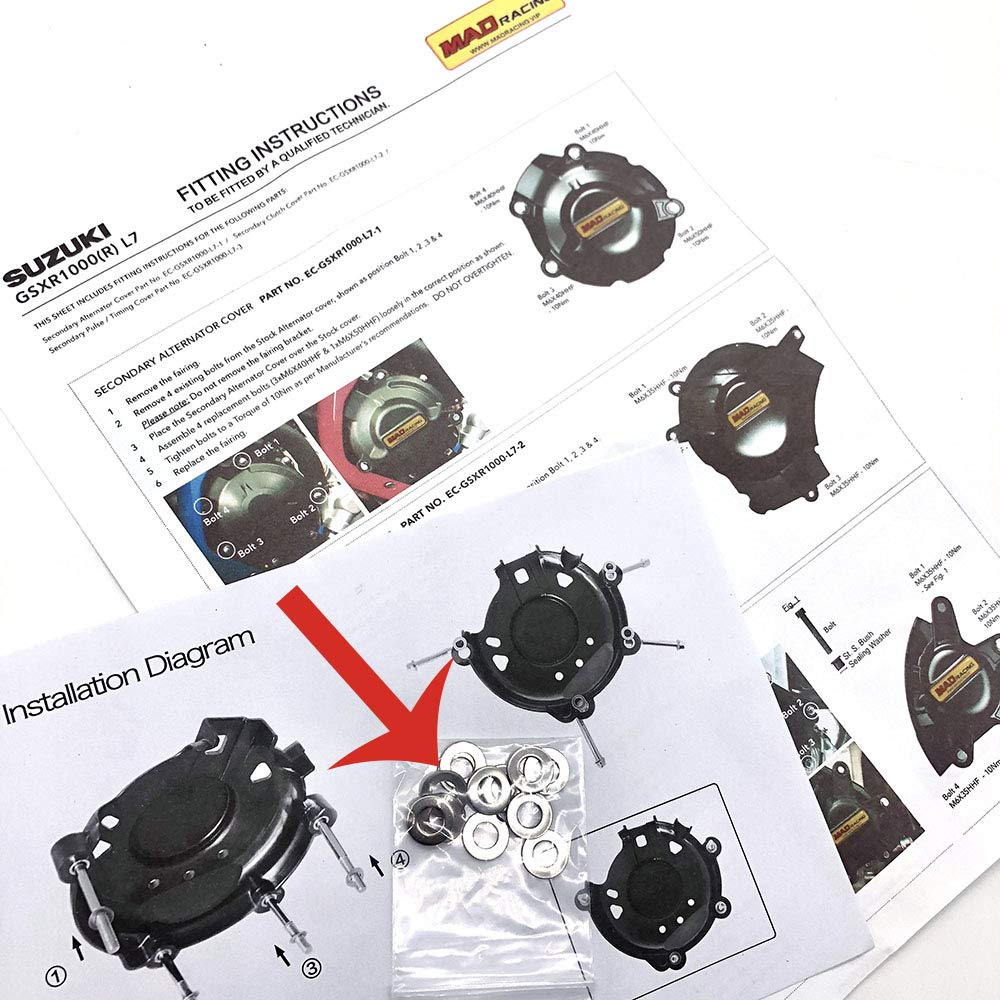 MADRACING YZF R1 2009 2010 2011 2012 2013 2014 Motorbike Engine Cover Set Protection Guard//Slider