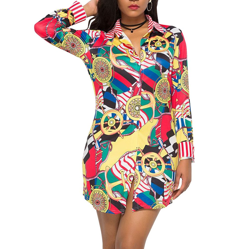 Pattern 3 Women Printed Long Sleeve Button up V Neck Collar T Shirt Fitted Long Blouse Dress Top