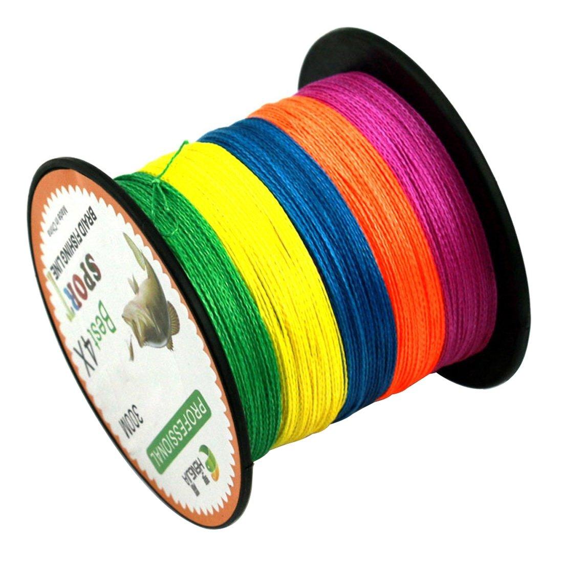 YKDY Fil de p/êche color/é 5,0# 0,37 mm 22,6 kg Tension 300 m Extra Fort 4 Fils tress/és PE Ligne de p/êche Cerf-Volant