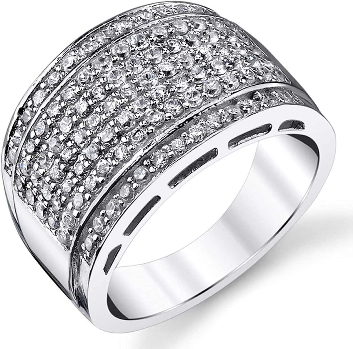 Sterling Silver Men's High Polish Micro Pave Wedding Band Ring With Cubic Zirconia CZ Sizes 5 to 12