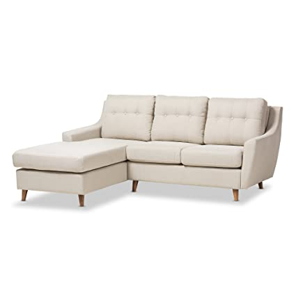 Beau Baxton Studio Adele Mid Century Light Beige Fabric Button Tufted 2Piece  SECTIONAL Sofa