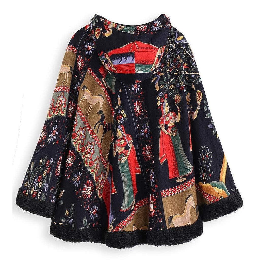 Veste Femmes Vintage Chaud Hiver Ethnique Imprim/ée Cordon /à Capuchon Poncho Cape Manteau /à Capuche LONUPAZZ