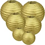 E-MANIS Gold Round Paper Lanterns 12inch 10inch 8inch size for Birthday Wedding Christmas Party Decorations (1-Pack of 6)