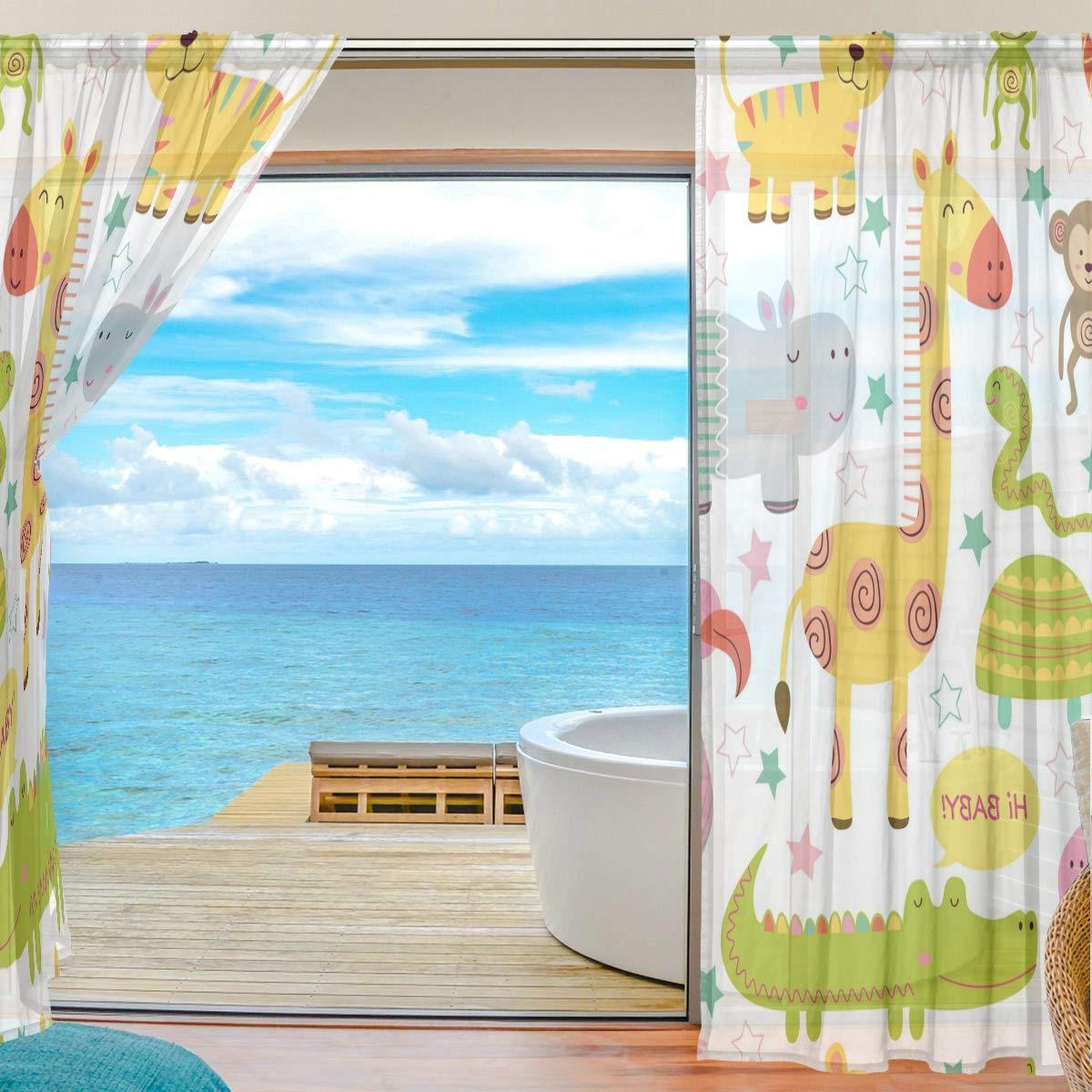 Tenda a 2 pannelli in voile velato soggiorno Orediy tenda lunga per soffitto motivo animali della giungla decorazione per camera da letto 2* 140W x 200 H finestra