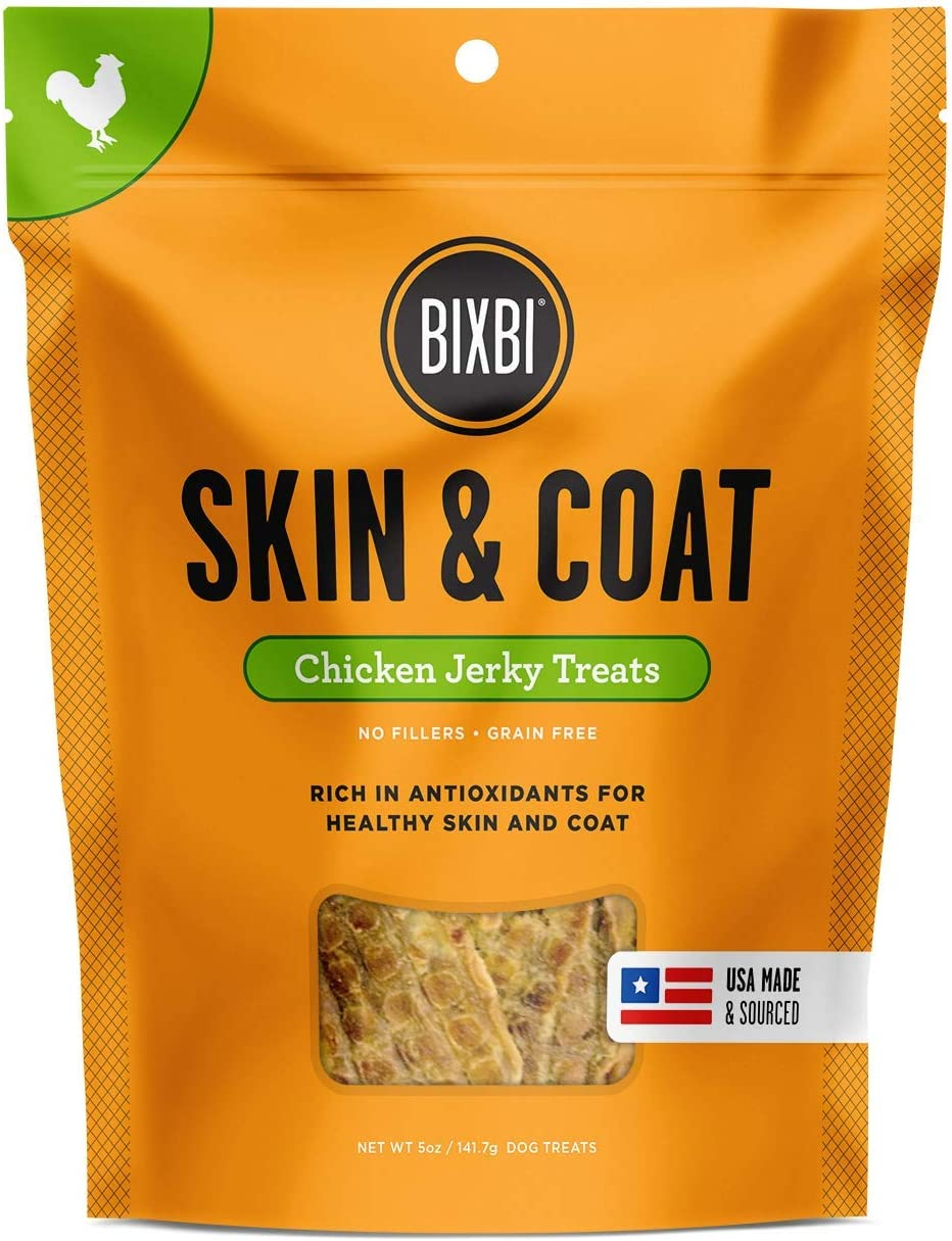 BIXBI Dog Jerky Treats - All-Natural Glucosomine, Antioxidants, Whole Food Nutrition - Skin, Immune and Joint Support - Salmon, Beef and Chicken