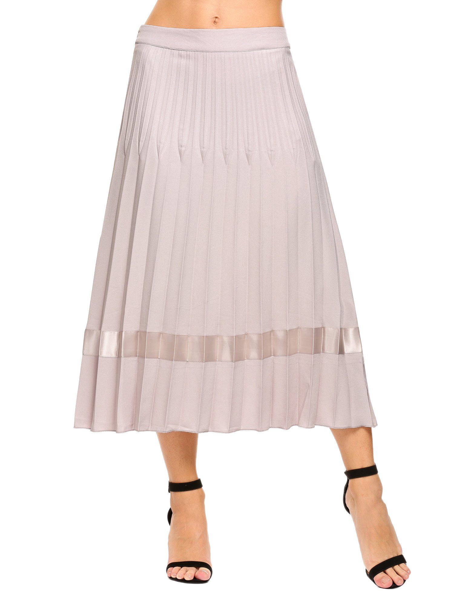Angvns Women s High Waist Pleated A Line Midi Long Skirt with Pockets Grey Small