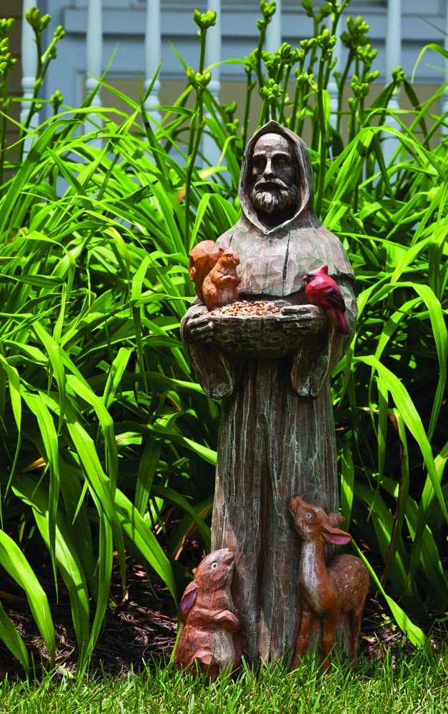 New Creative 841738 Feathered Garden Statue with Bird Feeder, St. Francis and Friends, 11-Inches x 9.5-Inches x 31-Inches Tall