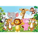 PRINTELLIGENT Jungle Cartoon Animals Wall Sticker PVC Vinyl, 91.45 cm x 63.5 cm