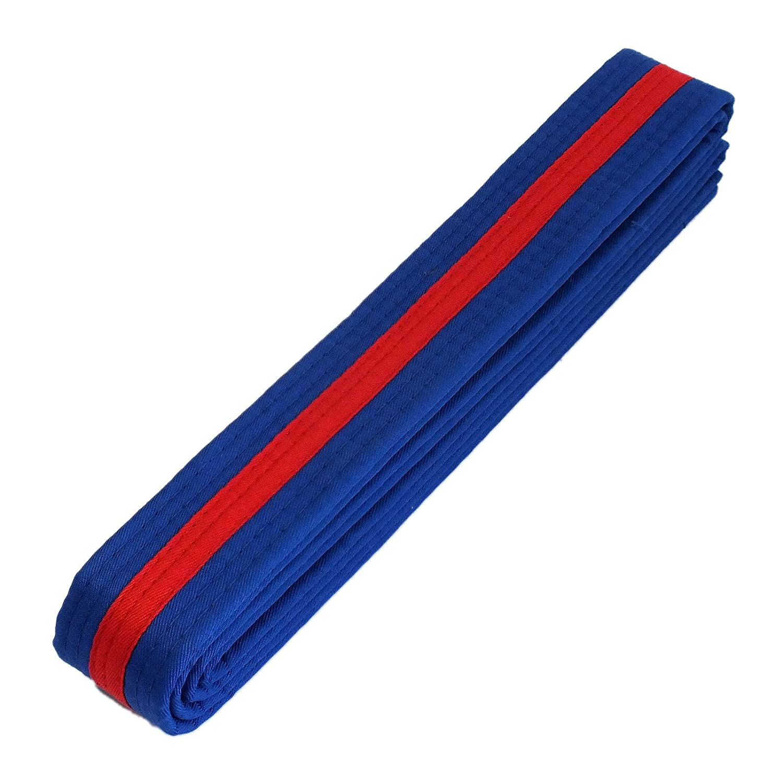 PROWIN1 Martial Arts 1.5 Wide Karate Taekwondo Double Wrap Striped Color Belts