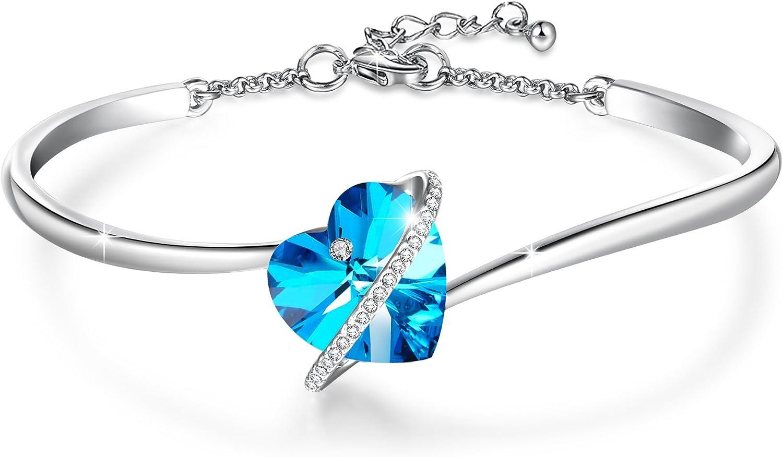 """GEORGE · SMITH """"Love Echo"""" 7 Pulgadas Pulsera Corazón Cristal Azul Púrpura Ajustable para Mujer Pulseras Plata con Cristales de Swarovski, Pulseras Mujer Regalos Cumpleaños para Mujer Niña"""