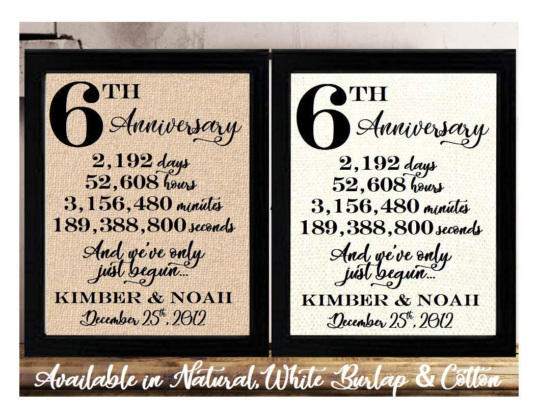 Amazon Com Framed 8x10 Personalized 6th Anniversary 6 Years Together 6 Years Of Marriage 6th Wedding Anniversary For Her Or Him 6th Anniversary Gifts For Couple 6 Year Anniversary Sixth Anniversary Gifts Handmade