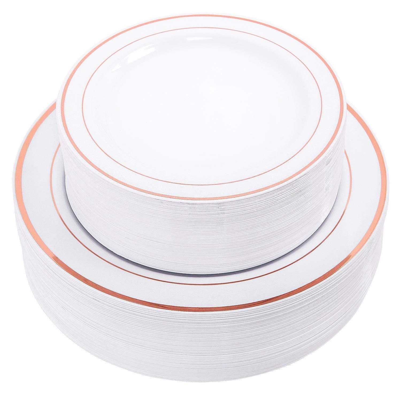 Signature Home 193723 Disposable Plastic Plates, 50 Pack, Copper Trim