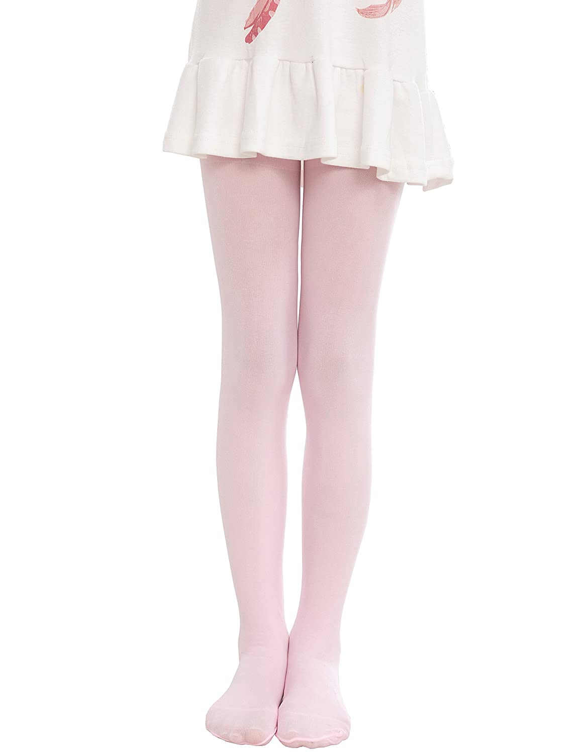 Anlaey Dance Footed Tights Microfiber Pro Ballet Solid Colored Stockings tight for Girls Kids