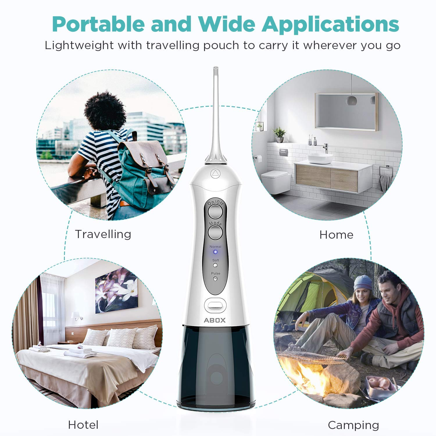 Water Flosser ABOX 300ML Cordless Oral Irrigator with 7 Jet Tips Rechargeable Dental Flosser