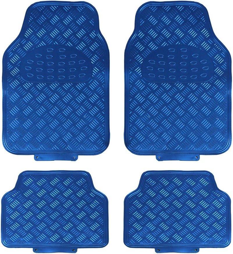Set di 4 JVL 01-694 Titan Tappetini Auto Design Metallico con Lato Inferiore in Gomma Carbone